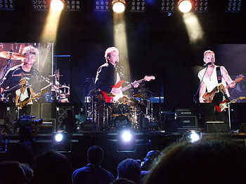 Live image of The Police in concert, 2007-08-05 at Giants Stadium, East Rutherford, New Jersey.